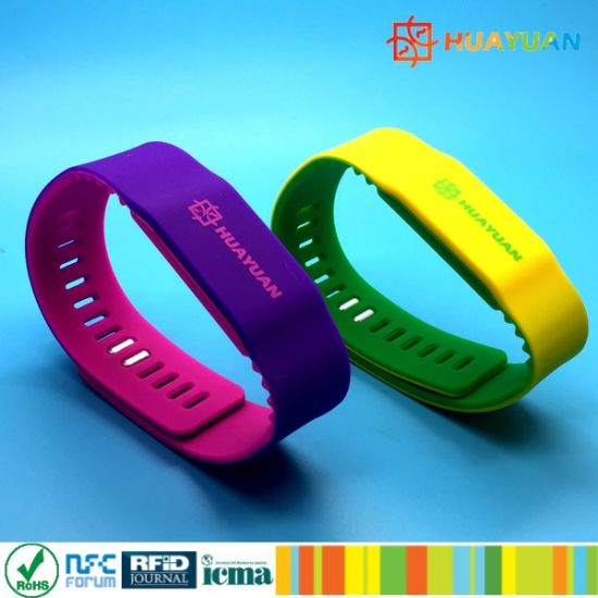 Colorful Adjustable ISO14443A MIFARE Plus SE 1K Silicone RFID Wristband pictures & photos