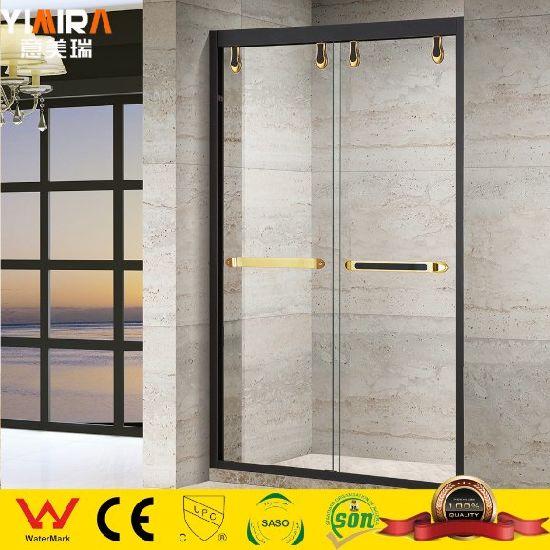 Elegant and Graceful Simple Glass Screen Black Framed Double Sliding Shower Door