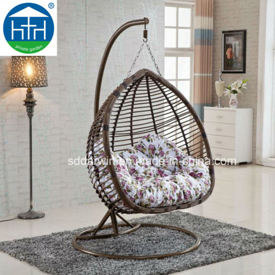 Cheap Luxury Patio PE Wicker Hanging Chair Outdoor Furniture with Iron Base