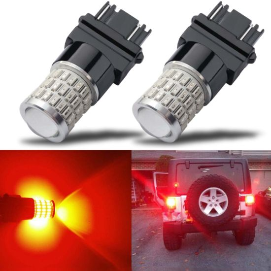 Newest 9-30V Super Bright Low Power Dual Brightness 7440 7443 T20 LED Bulbs with Projector Replacement for Tail Brake Lights