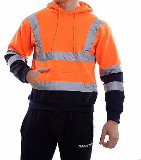 Riddled with Style Hi Vis Viz Hooded Sweatshirt High Visibility Unisex Reflective Workwear Jacket
