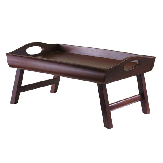 Wood Bed Tray With Curved Side Foldable Legs Large Handle