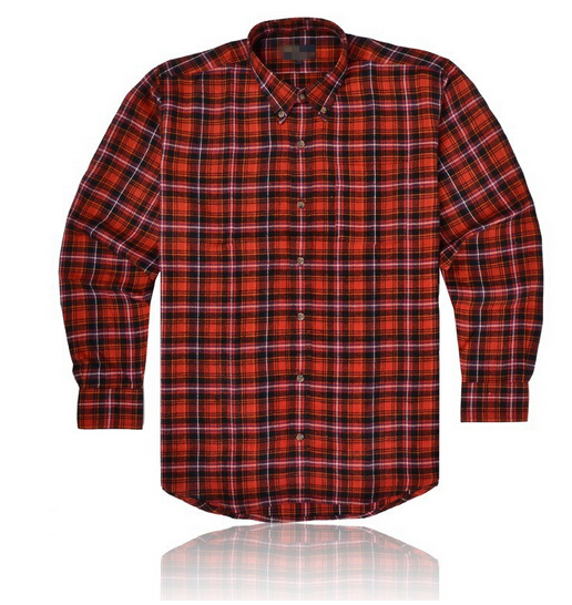 New Simple Design Red Plaids Flannel Long Sleeve Shirt