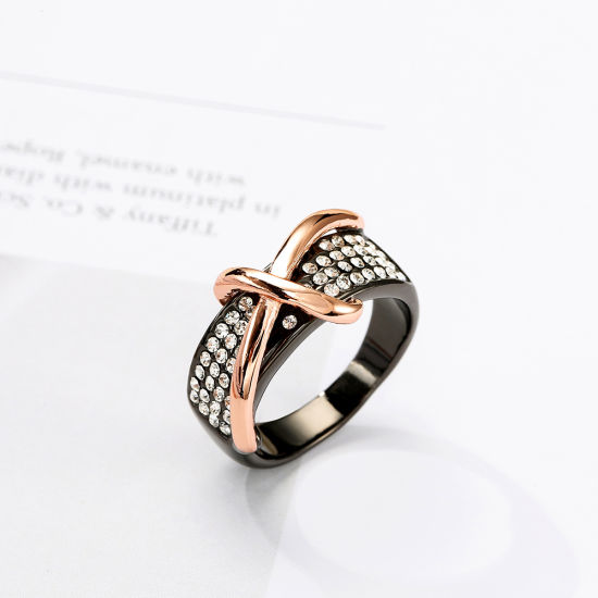 Hot Item Jewelry Wholesale Rose Gold Diamond Cross Ring pictures & photos
