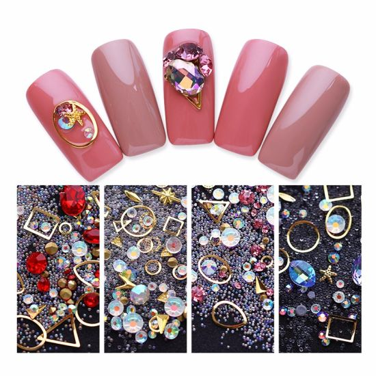 China Colorful Mix Acrylic Rhinestones Alloy Metal Frame Sticker