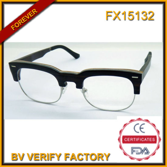 e8c964e2bf5 Fx15132 Fashionable Half Frame Wooden Glasses with Custom Brand pictures    photos