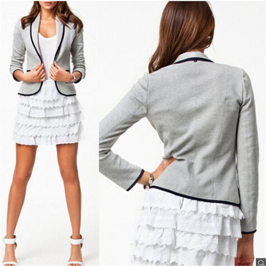 Fashion Slim Button Collar Casual Business Women Blazer Suits