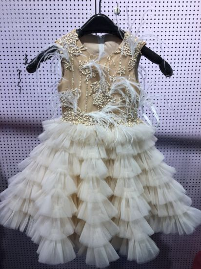Champagne Beaded Feather Party Dress for Girls Rsl004