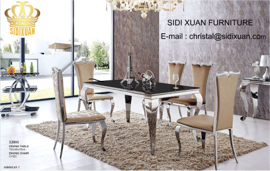 Dining Table / Living Room Furniture / Restaurant Table / Stainless  Steeltable / Hotel Chair / Banquet Chair / Glass Table / Modern Furniture  Sj805+Cy023