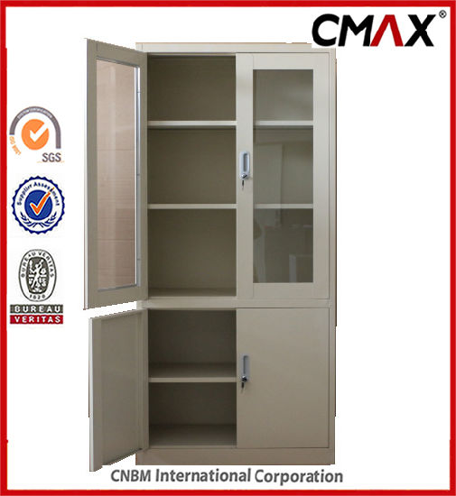 China Steel Filing Cabinets Metal Storage Containers With Glass Door