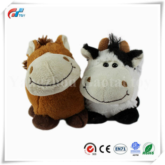 White and Brown Stuffed Cow Toy with Embroider Mouth