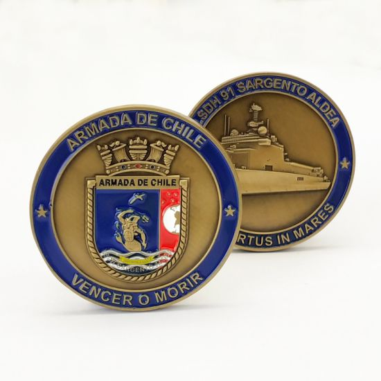 Manufacturer Professonal Custom Chile Militayr Navy Challenge Coins History Commemorate Travel Souvenir Coin Badge