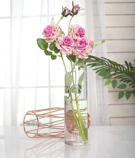 Vintage Geometric Metal Holder Clear Transparent Planter Flowers Pot Glass Vase