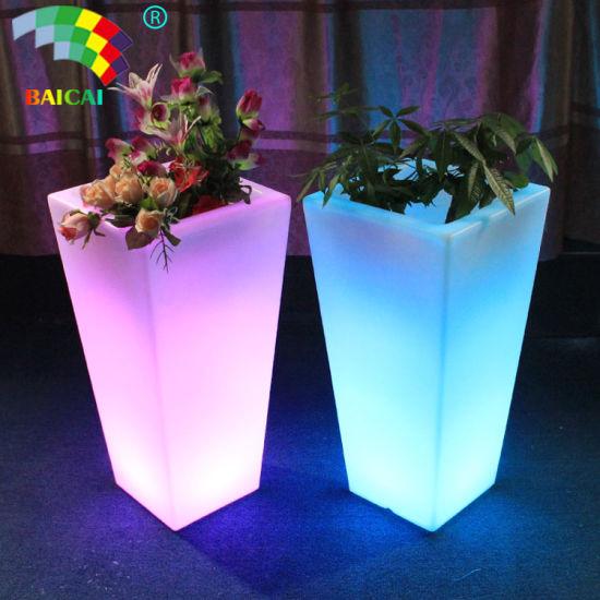 Waterproof Outdoor/Indoor Illuminated LED Light Planter Flower Garden Pots