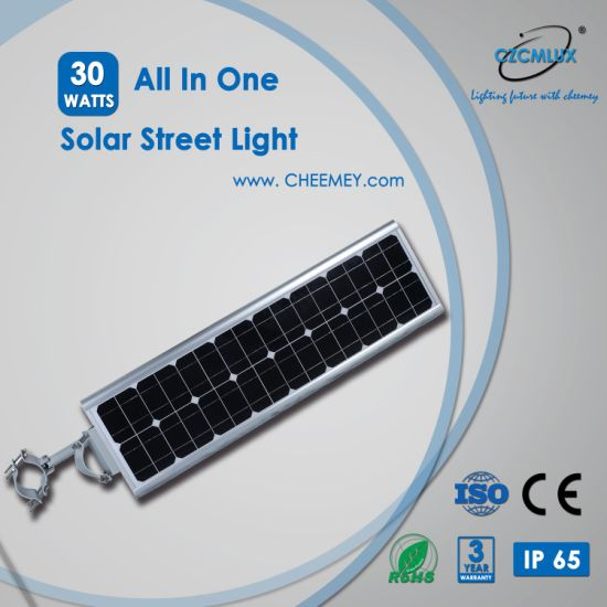 PIR Sensor All in One Solar Street Light 30W with LiFePO4 Battery