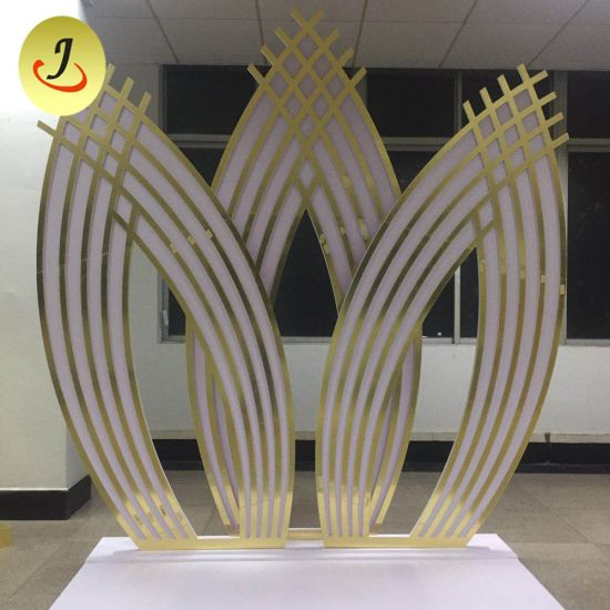 Gold Acrylic Wooden Large Lotus Flower Backdrop for Wedding Rental