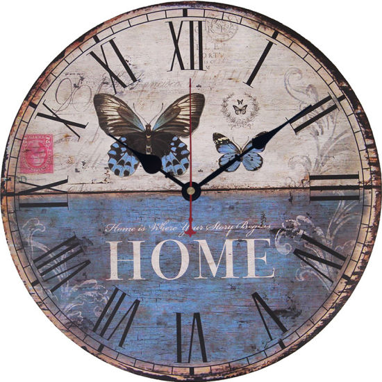 Country Tuscan Style Wooden Decorative Round Wall Clock pictures & photos