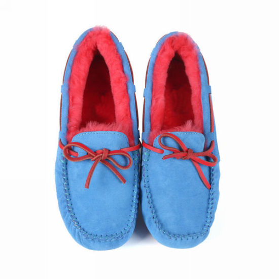 Factory Directly Wholesale Ladies Fashion Hot Sale Colorful High Warm Real Sheepskin and Warm Women Winter Fur Moccasins Shoes