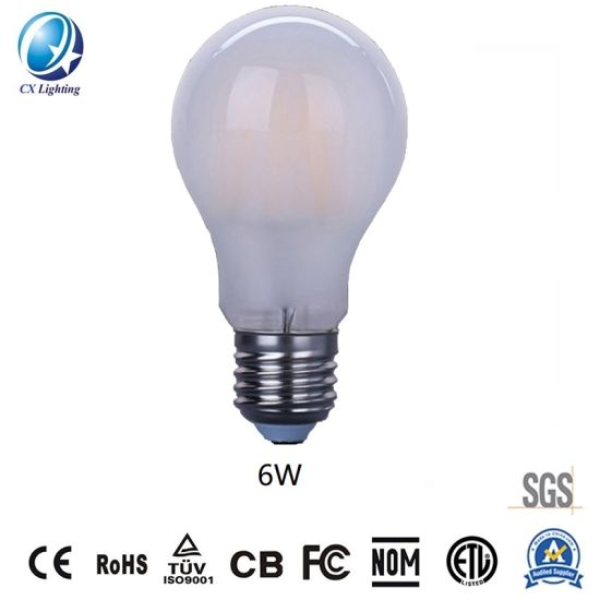 Frosted Ceramic Lamp LED Filament Bulb A60 6W 720lm Equal to 75W E27 B22 E14