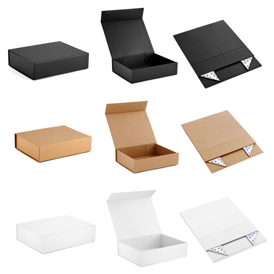 Wholesale Big Luxury Book Shaped Cardboard Foldable Wedding Gift Packing Box Custom Logo Printed Large Empty Rigid Paper Clamshell Magnetic Packaging Gift Box