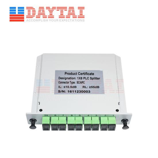 Factory Cassette Type Fiber Optic Sc/APC 1X8 PLC Splitter