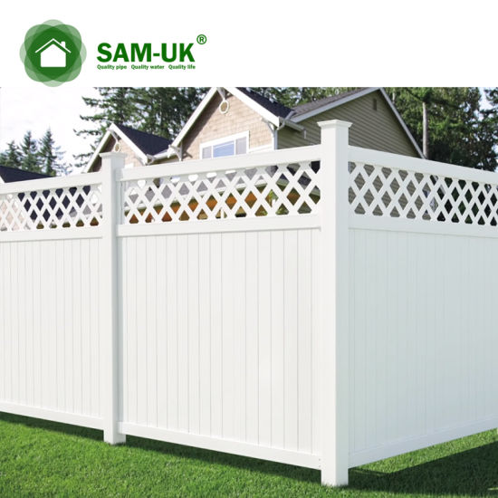 6' X 8' Vinyl Privacy Fencing with Ornamental Top Section on Deck