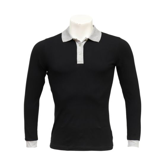 Women's Long-Sleeved Polo-Neck Workwear Office Embroidered Elastic Cotton Uniform