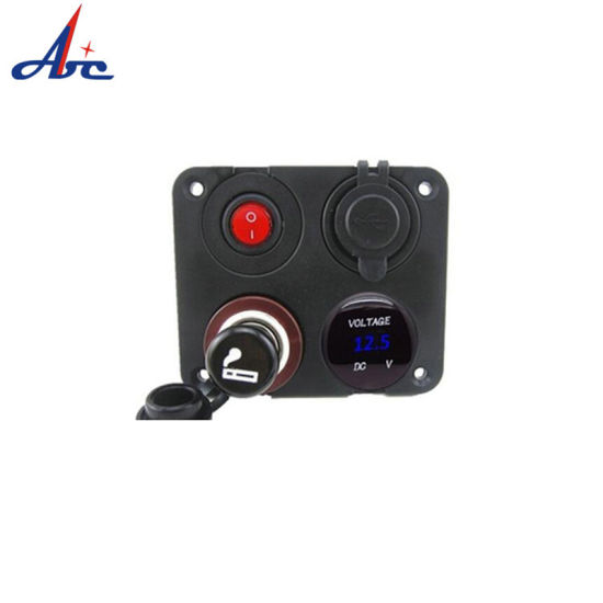 Power Socket Rocker Switch Dual USB Socket Voltmeter Cigarette Lighter pictures & photos