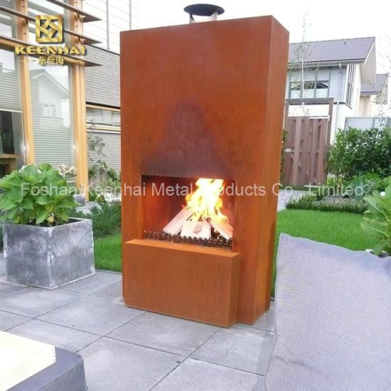 China Metal Corten Steel High Freestanding Fireplace Fire Pit Kh Fs 01 China Fire Pit Fireplace
