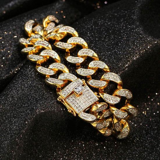 Hip Hop Cuban Chain Bracelet Bangle Jewelry 1.4mm Cuban Chain Bracelet Men's Jewelry