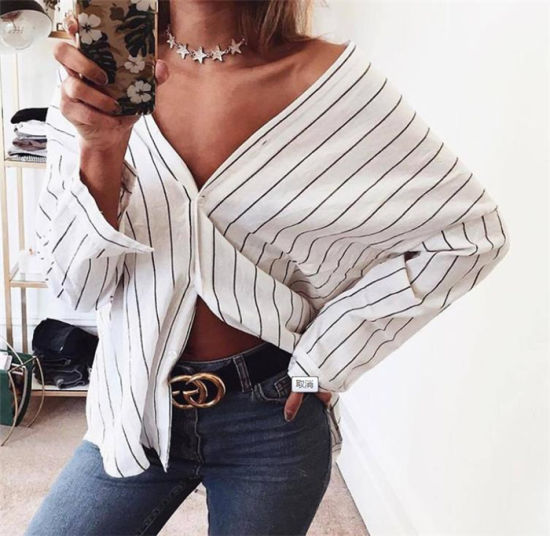 Women's New Stlye Fashion Striped V-Neck Sexy Shirts