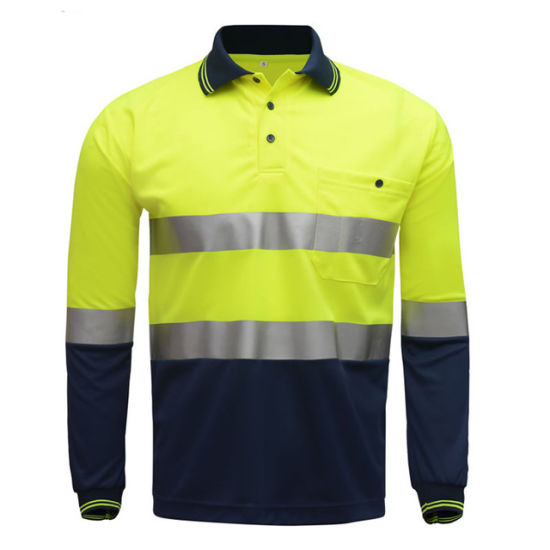 Hi Viz Safety Work Polo Shirt Reflective High Visibility Long Sleeve Polo Workwear