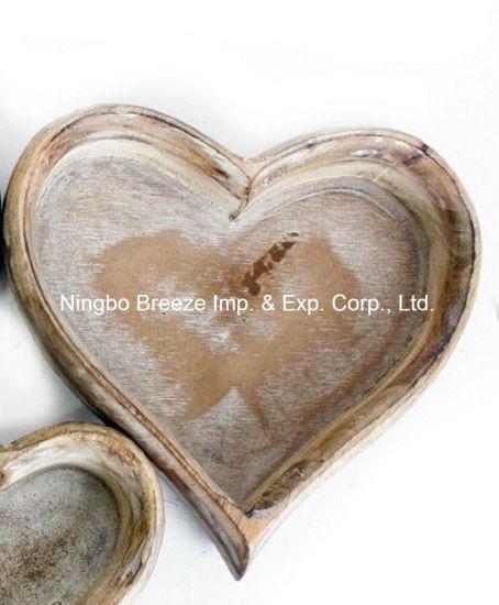 Handcraft Decorative Heart Shape Wooden Kitchen Storage Box