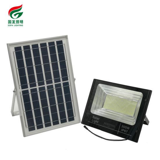Outdoor Waterproof IP67 High Lumen LED DC Remote Control Dimmable 25W 60W 100W 200W 300W 40W RGB Solar Flood Light