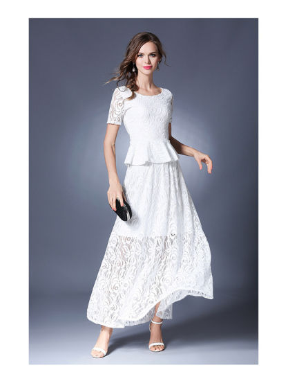 Fashion Lace Hollow Floral Top and Skirt Set Dress pictures & photos