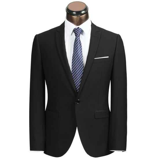 New Design Men Slim Fit Suit of Black Color