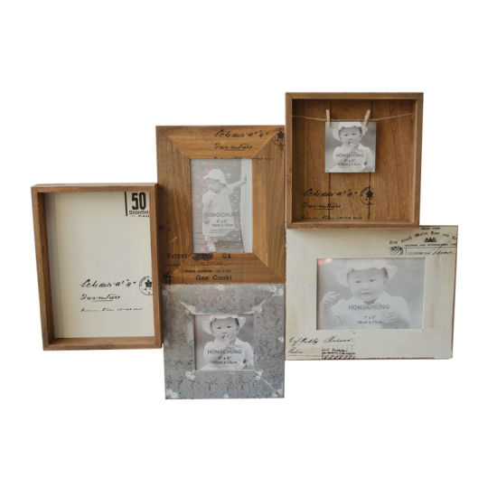 China Antique Mdf Distressed Wooden Collage Photo Frame For Home