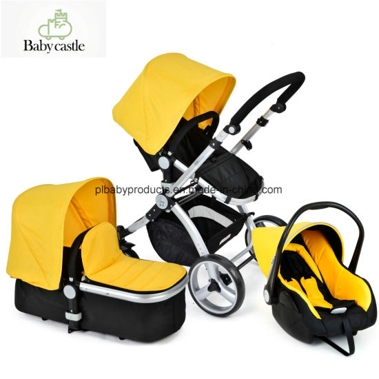 European Standard Style Baby Jogger Stroller With Car Seat And Carrier Yellow