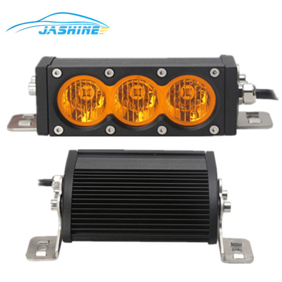 Single Row Amber White Dual Color Lens 30w 6inch Led Light Bar With 10w Led