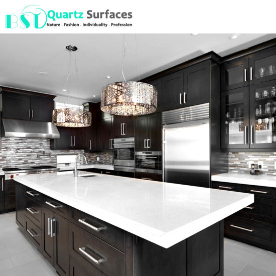 China Crystal White Solid Surface Composite Quartz Countertop
