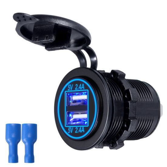 Waterproof Dual USB Charger Socket Power Outlet Fast Charge Adapter 5V 4.8A [2.4A & 2.4A] for Car Motorcycle Boat Marine Mobile