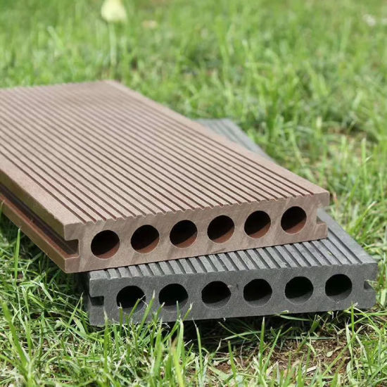 Round Holes WPC Composite Decking Floor Board Materials for Exterior Decoration