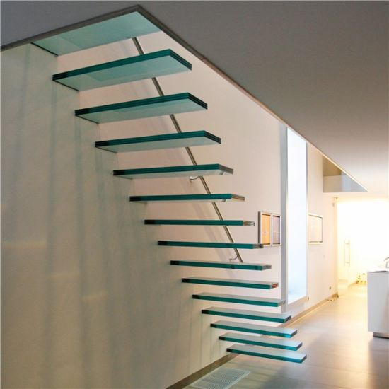 Tempered Glass Step with Glass Railing Floating Staircase