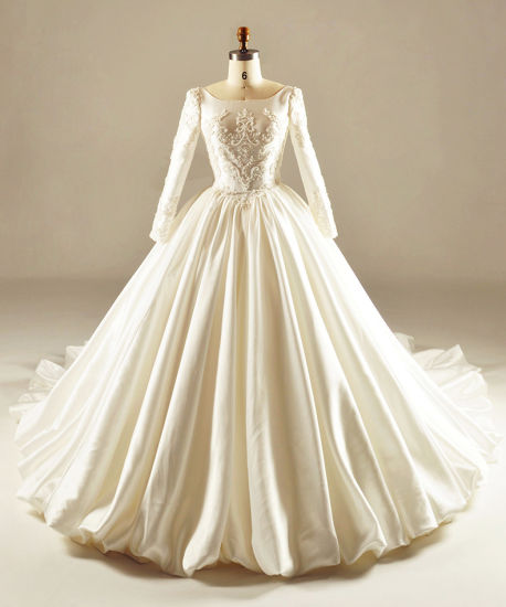 China Satin Bridal Wedding Dress Long Sleeves Muslim Ball Gown