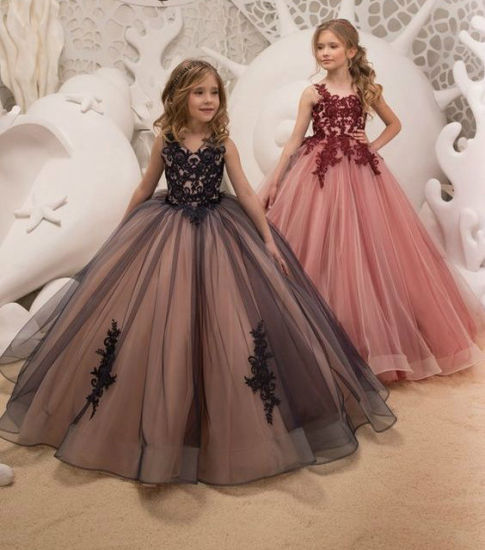 Flower Girl Dress Stage Performance Lace Tulle Girls Ball Gown F915