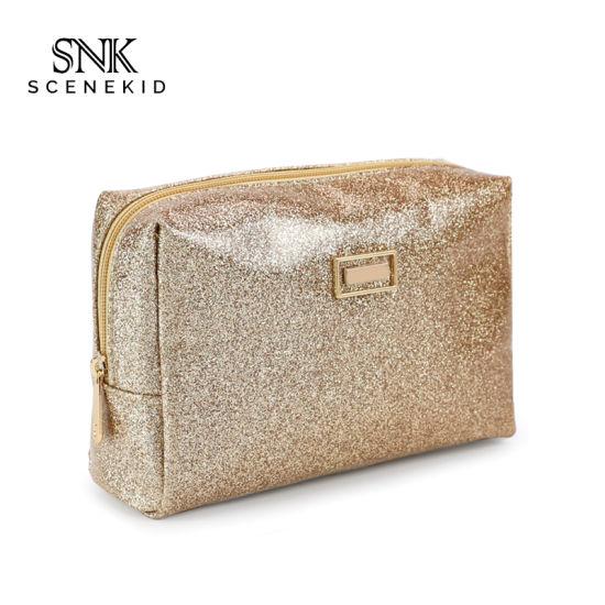 Fashion Custom Made Premium Waterproof Toiletry Bag, PVC Vintage Travel Gold Pouch Wash Bag