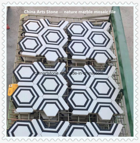 Pure White Marble Matching with Pure Black Nature Marble Mosaic Tile pictures & photos