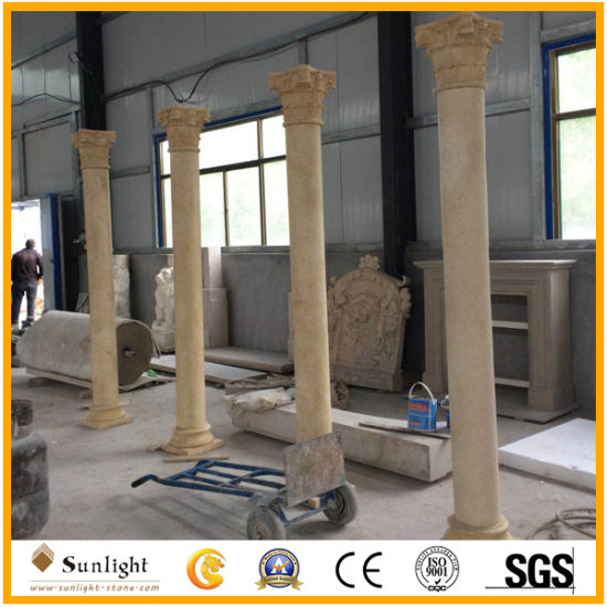Polished Marble Granite Stone Roman Columns, Solid/Hollow Beige/White Marble Columns