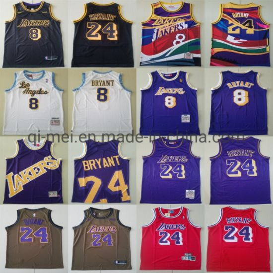 2020 Newest Lakers 8 24 K-Obe Bryant Throwback Basketball Jerseys