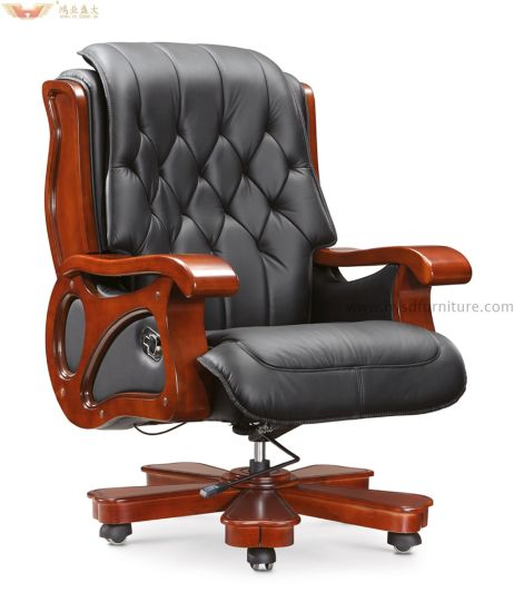 Luxuary High Back Leather Boss Multifunctional Luxury Executive Chair With  Wooden Armrest